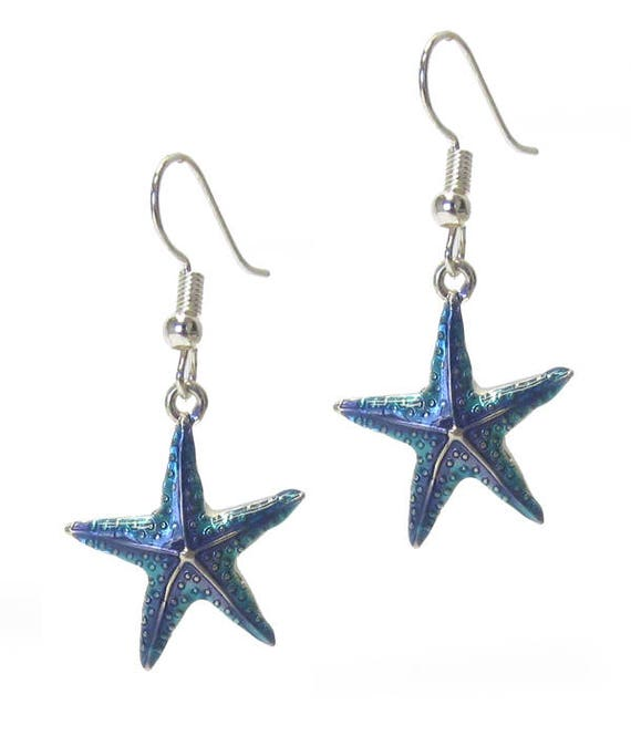 WHOLESALE-Silver and Blue Starfish Earrings