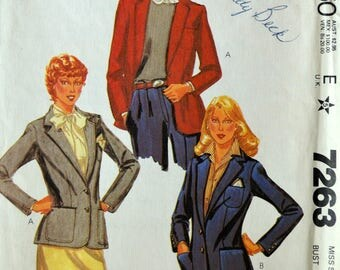 Uncut 1980s McCall's Vintage Sewing Pattern 7263, Size 8; Misses' Jacket