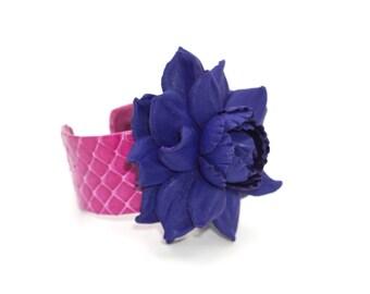 Genuine leather sapphire cobalt blue rose on a magenta snake skin open cuff, snakeskin & metal open end bracelet, real leather flower bangle