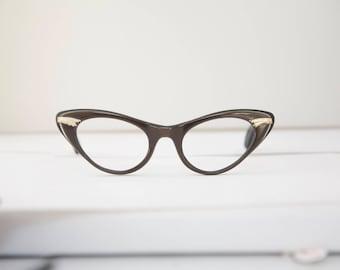 Vintage Beautiful Cats Eye 1950's Eyeglasses / Coppery Brown
