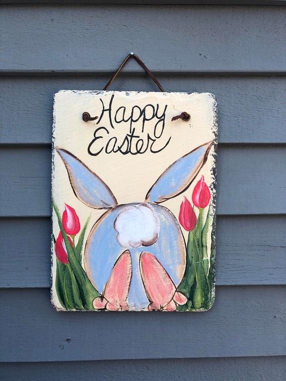 Easter Bunny Door Hanger, Easter door hanger, Outdoor Easter Decorations, Painted Slate, Easter Decor, Spring door hanger, Easter Decor,