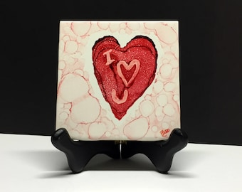 Unique Gift Hand Painted alcohol ink Tile Art Abstract Art Love Gift Heart Desk art Office Art small gift for him her accent art