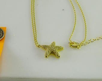 "Clear Stone encrusted Star Sterling Pendant on 16""-18"" Sterling Chain"