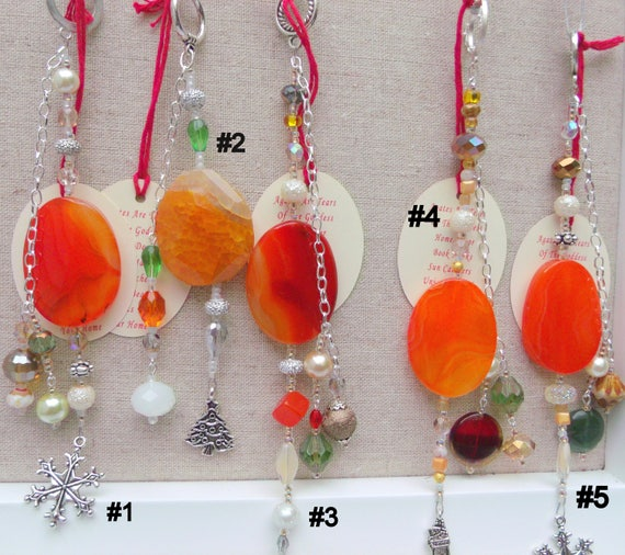 Fire orange agate christmas - holiday ornaments - tree decor - whimsical silver charms - window  - house decorations - grab gift ideas -