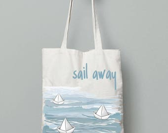 Paper boat bag, summer tote bag, Canvas tote, printed tote bag, Reusable Bag, Everyday carry, beach bag tote, quote tote bag, summer gifts
