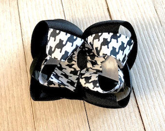Houndstooth Stacked Hair Bow - Black and White - Boutique Hair Bow - Girl Hair Bow - Twisted Boutique Hair Bow