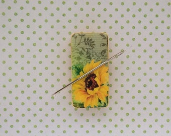 Needle minder Sunflower magnet  needleminder crossstitching cross stitch Embroidery quilting needle point sewing cross stitch nanny keeper