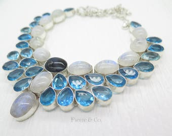 Rainbow Moonstone Blue Topaz Labradorite Sterling Silver Necklace