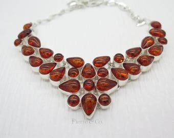 Red Baltic Amber Sterling Silver Necklace