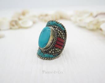 Native American Turquoise Sterling Silver Ring (Size 7.5)