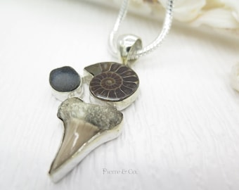 Shark Tooth Fossil Ammonite Fossil and Agate Drusy Sterling Silver Pendant and Chain
