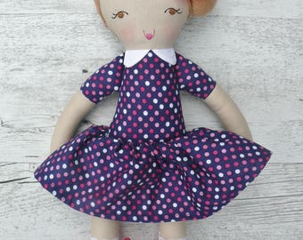"Leah - Handmade rag doll, 38cm (15""), fabric doll, cloth doll, gifts for girls."