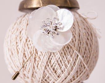BROOCH - CORSAGE - Boutineer,  Handmade brooch, natural freshwater shell flower,