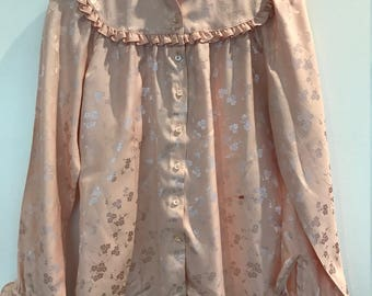 Vintage 1980s Peach Ruffled Blouse by Intuitions