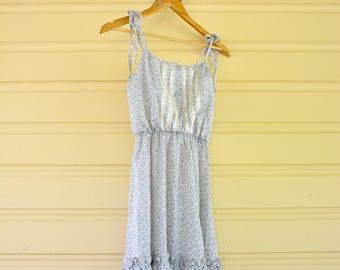 70s Hippie Dress   Spaghetti Strap Cotton Dress   1970s Tiered Dress