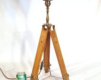 Vintage Wood Tripod Floor Lamp   Edison Uplight One Of A Kind FREE