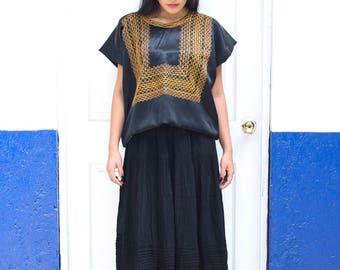 Satin Oaxacan huipil M// black Satin huipil//Frida Kahlo huipil//Ethnic blouse
