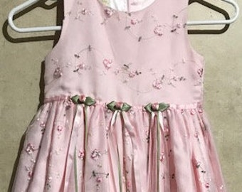 Pink Embroidered Girl Dress Size 6X Dress for Easter Graduation Wedding