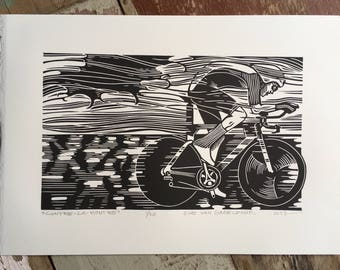 Free shipping // Contre-La-Montre // Original linocut print