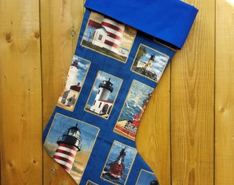 Lighthouse Quilted Christmas Stocking