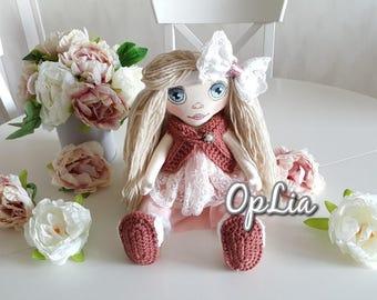 Rag doll, Fabric handmade doll, stuffed Rag doll, Handmade Cloth doll, Fabric soft doll, Handmade doll, Baby Girl gift, Stuffed doll