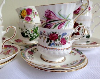 10 English Vintage Tea Sets - Vintage Cups and Saucers-Birthday Part Set - Bridal Shower Tea Set - Mix Match  Set