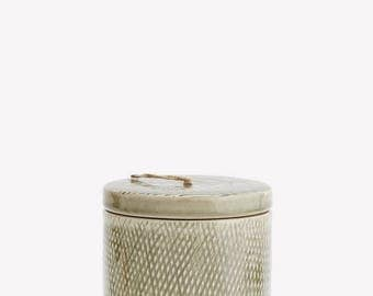 Ceramic Jar With Lid in Olive or Peach