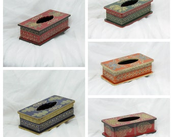 Paper Tissue Holder Box Hand Painted And Embossed ,India Home Decor,Indian  Handicrafts,