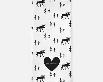 Custom Deer Tea Towel - Wedding,Housewarming,Anniversary, Engagement,Tea Towels Custom, Deer Lover, Deer Kitchen, Deer Gift, Antlers towel