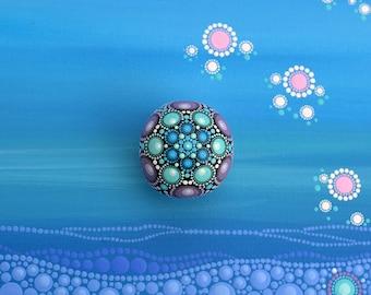 Little Cute Mandala Stone-Emisar-blue-purple painted stone-dot art-Acrylic painting-flower-gift-easter egg decoration