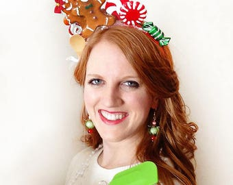 gingerbread headband, gift for baker, christmas headband adult, christmas hair accessories, ugly Christmas sweater party, tacky sweater hair