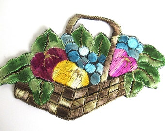 Fruit basket applique, 1930s vintage embroidered applique. Vintage patch, sewing supply.  #6A6GD0KA