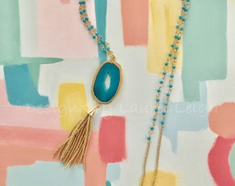 GOLD and TURQUOISE Tassel Necklace | agate, gemstone, dressy, statement necklace, Designs by Laurel Leigh, designsbylaurelleigh, adjustable