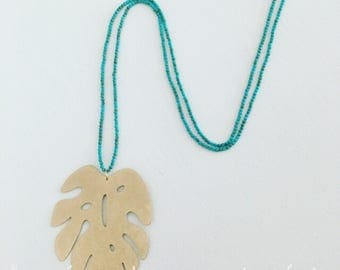 GOLD and TURQUOISE Palm Leaf Necklace | long, tropical, Designs by Laurel Leigh