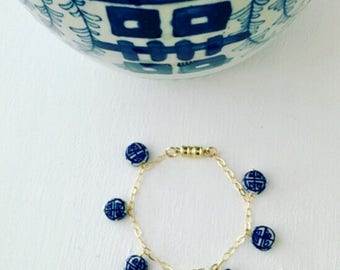 GOLD Double Happiness Charm Bracelet | Chinoiserie, blue and white, Designs by Laurel Leigh, royal, dainty, symbol, tarnish resistant
