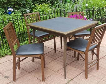 Vintage Stakmore Mid-Century Modern Folding Table and 4 Folding Chairs