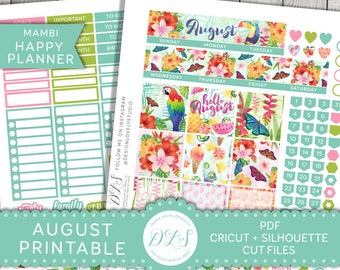 August Monthly Kit, Happy Planner August Stickers, August Monthly Planner Stickers, Happy Planner August Kit, Mambi Monthly Kit, HPMV131