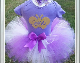 First birthday outfit girl, 1st Birthday Butterfly Tutu Outfit, Lavender and Purple First Birthday Outfit, I'm one in Sizes 9-24 month