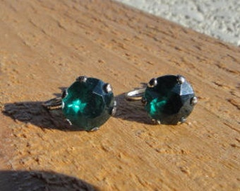 antique sterling  silver screw back earrings  , green emerald rhinestone clipons estate jewelry
