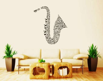 Rta39 Kitchen Coffee Music Jazz Band Notes Saxhapone Sax Tube Instrument Bedroom Gift Wall Decal Vinyl