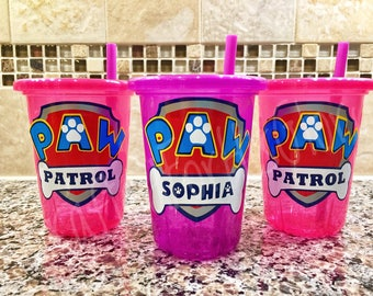 Paw Patrol Birthday Party Favors Personalized Cups - Set of 3