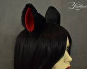 Black&Red Cat Ears | Huge Clip on Cat Ears | Cat Ears | Clip on Ears | Fluffy ears | Kitty Ears | Anime Ears | Fur Ears | Fluffy Ears