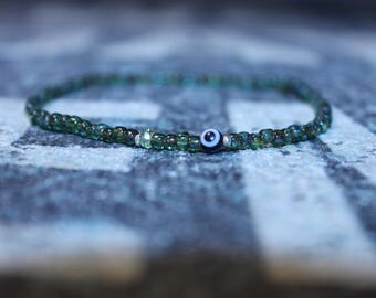 Evil Eye Bracelet, Men's Evil Eye Bracelet, Peridot Bracelet, Mens gift for him Husband Gift , Mens Seed Bead