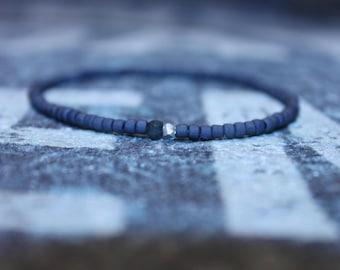 Emerald  Bracelet - Men's Jewelry - Karen Hill Tribe Silver nugget bead - Raw Emerald (Dark, Non transparent), Mens Seed Bead