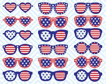 American Flag Sunglasses Monogram, Digital Cutting Files, Svg Files for Silhouette, Cricut,Sunglasses Monogram, American Flag  SVG, 31luna