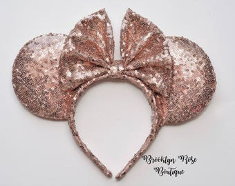 Rose Gold Mickey Minnie Mouse Disney Ears Headband