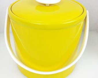 Georges Briard Ice Bucket Vintage Mid-Century Yellow Mod Vinyl Ice Box & Lid