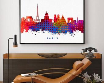 Paris Skyline Print, Paris Bedroom Decor, Paris Print, Paris Decor, Watercolour Paris Wall Art, Wall Art Decor, Paris Birthday Gift (N119)