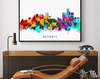 Detroit Skyline, Detroit Art, Detroit Poster, Detroit Print, Detroit Wall Art, Detroit Poster, Michigan Home Decor, Giclee (N122)