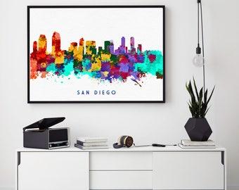San Diego Skyline Print, San Diego Painting, San Diego Art, San Diego Wall Decor, Watercolor San Diego, California Art, Bedroom Decor (N171)